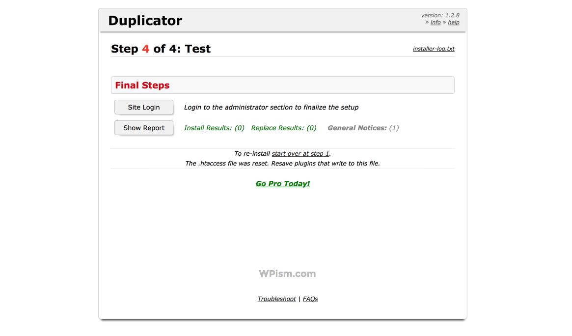 Site Login Final Duplicator Stage Moving WordPress