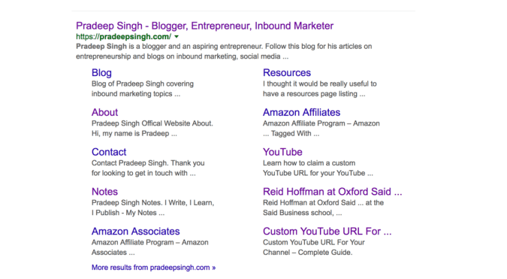 Sitelinks for Pradeep Singh Website Google SEO