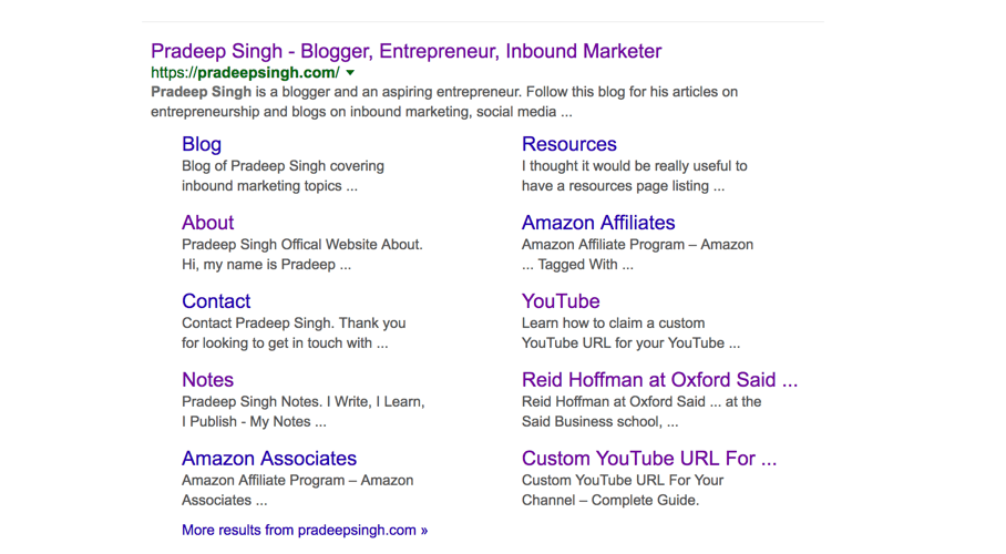 Sitelinks for Pradeep Singh Website Google SEO