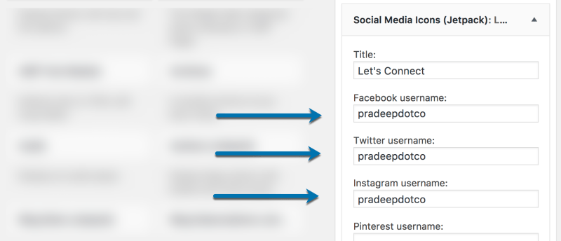Social Media Icons Usernames Jetpack