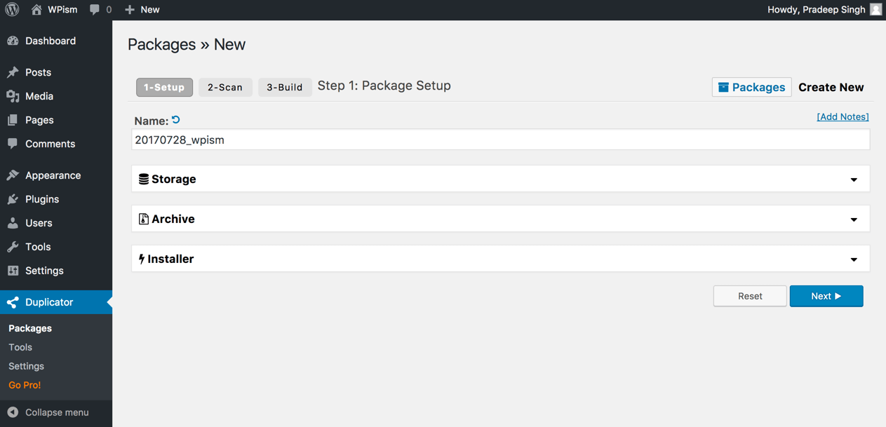 Step 1 Creating Duplication Package to move WordPress