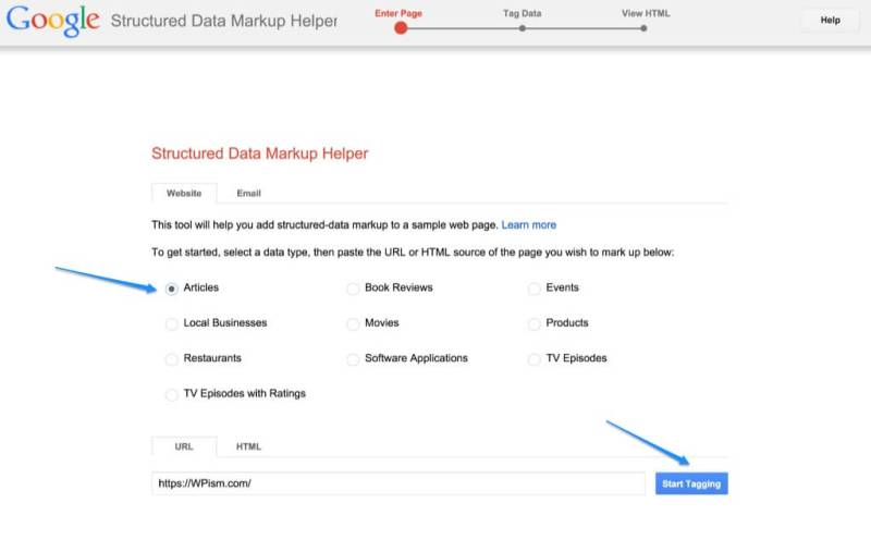 Structured Data Markup Helper Google