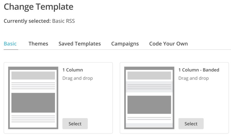 Template options for MailChimp Campaign