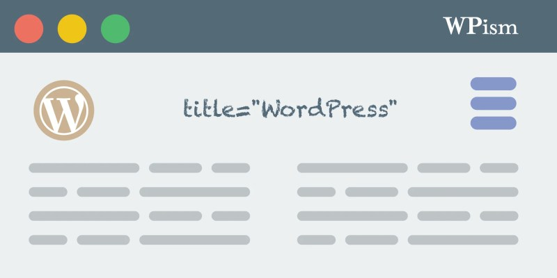 Title Attribute For Menu Items WordPress