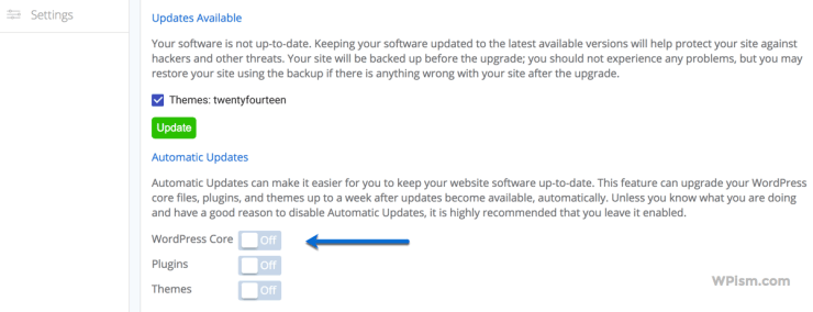Turn Automatic Updates on For BlueHost WordPress Hosting