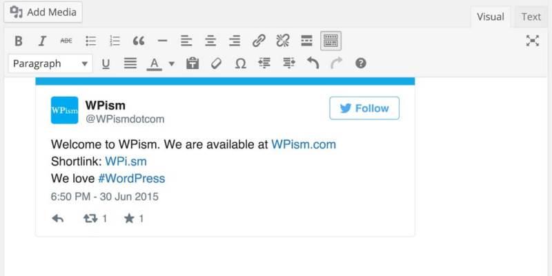 Twitter oEmbed in WordPress