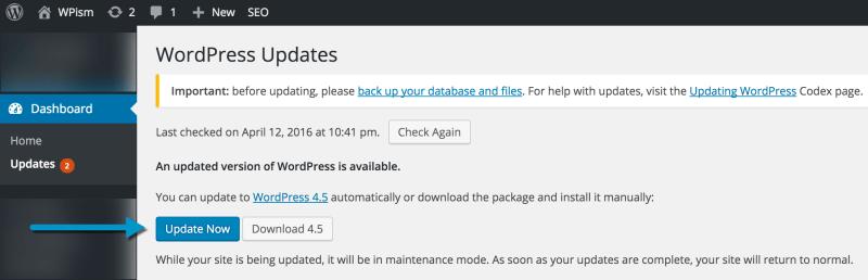 Updating to WordPress 4.5