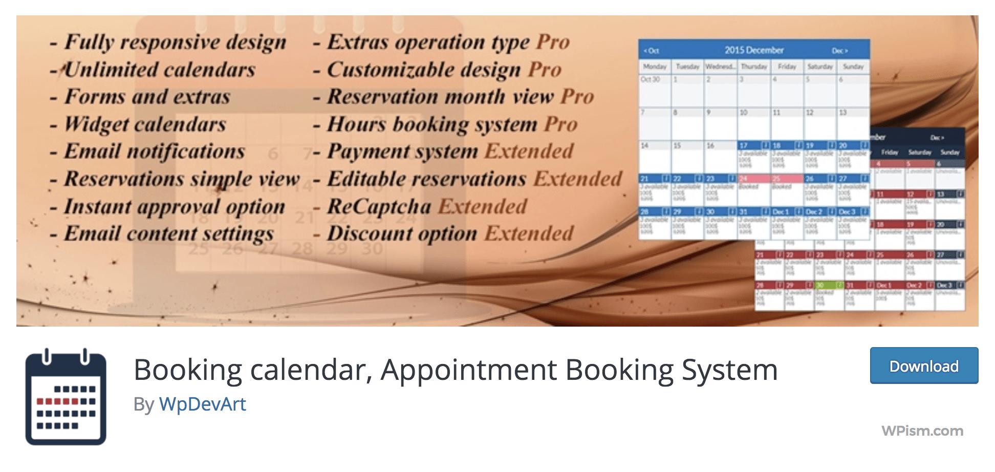WP Booking Calendar for multipurpose use WordPress Plugin