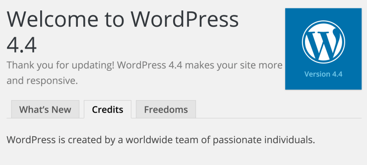 Welcome WordPress 4.4 Dashboard