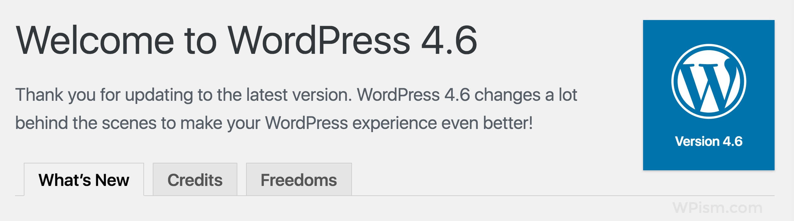 Welcome to WordPress 4.6 Screenshot
