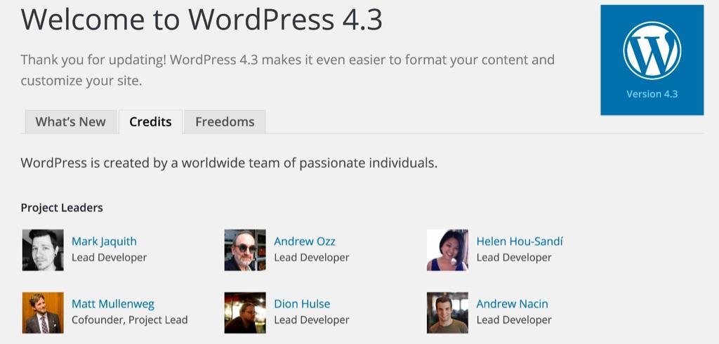 WordPress 4.3 Updates Welcome
