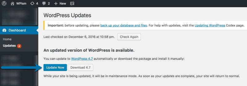 WordPress 4.7 Update