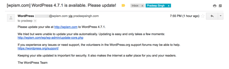 WordPress 4.7.1 Update Email