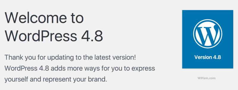 WordPress 4.8 Welcome Screen