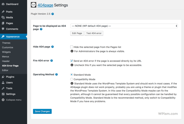 WordPress 404 Page Settings Plugin Smart