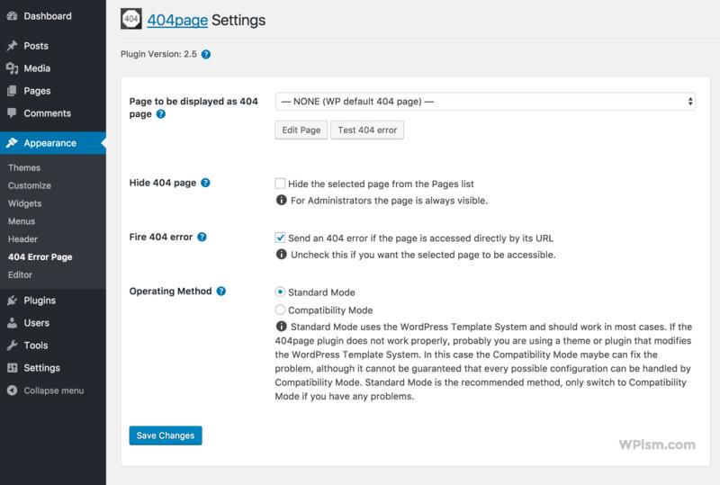 WordPress 404 Page Settings Plugin Smart