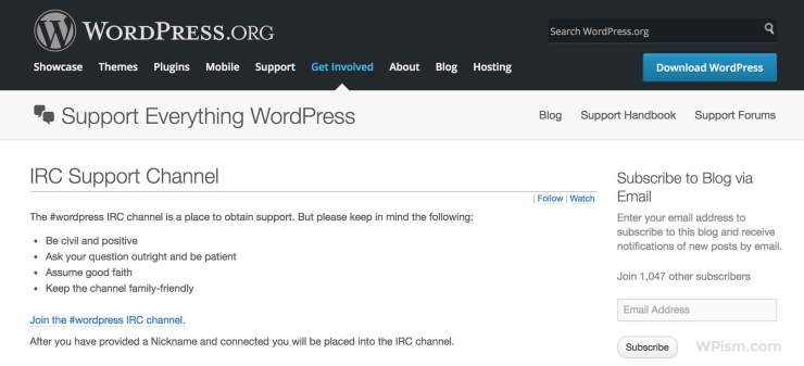 IRC Channel Official WordPress Help