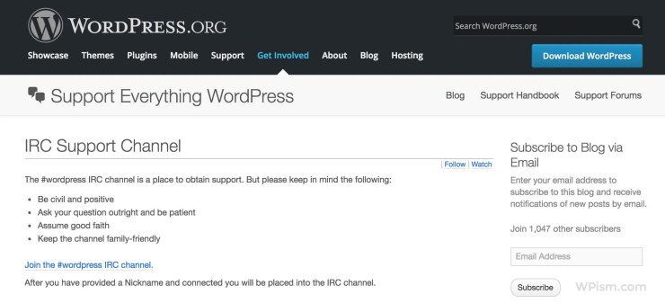 IRC Channel Official WordPress Help