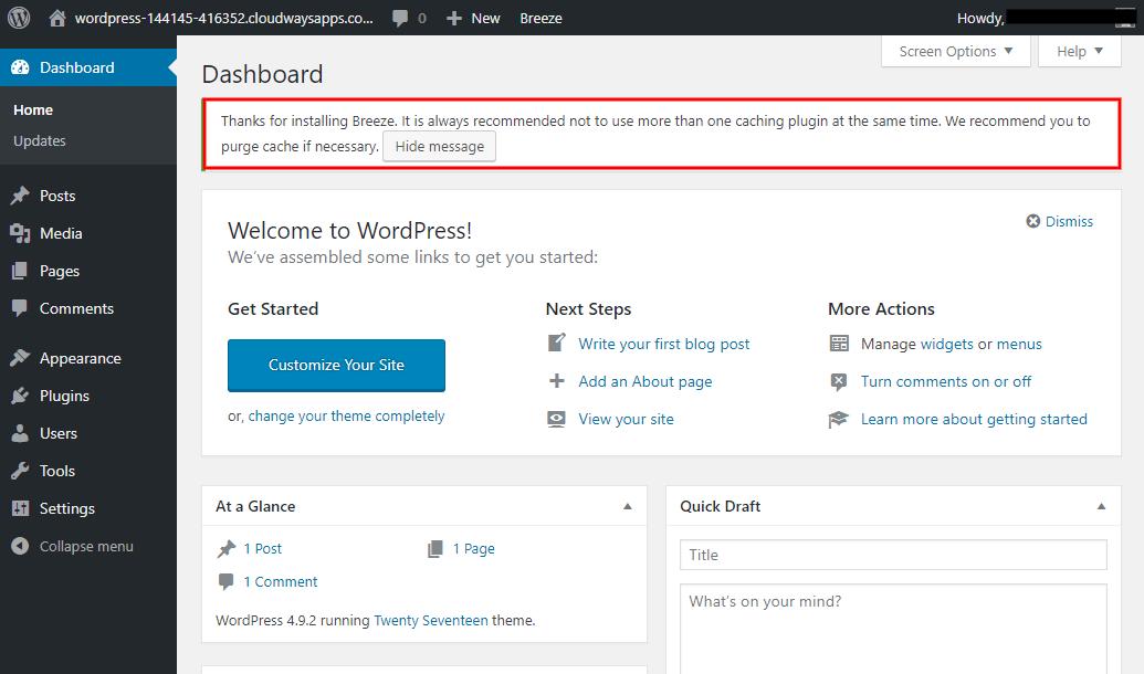 WordPress Site Cloudways Caching