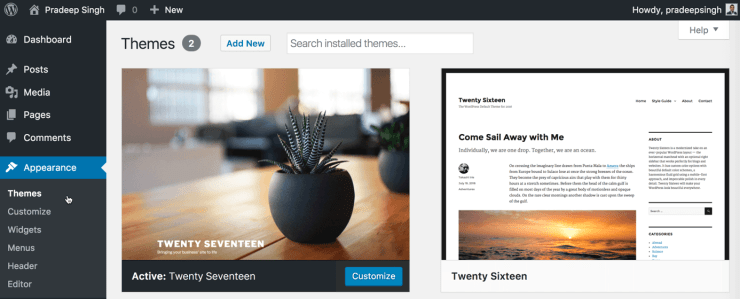 WordPress Themes Section for Blog New Guide to Blogging