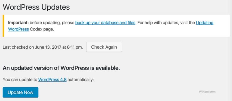 WordPress Update 4.8 Release