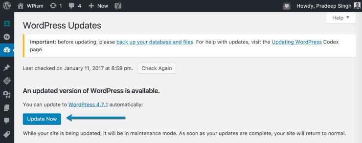 WordPress version 4.7.1 Update