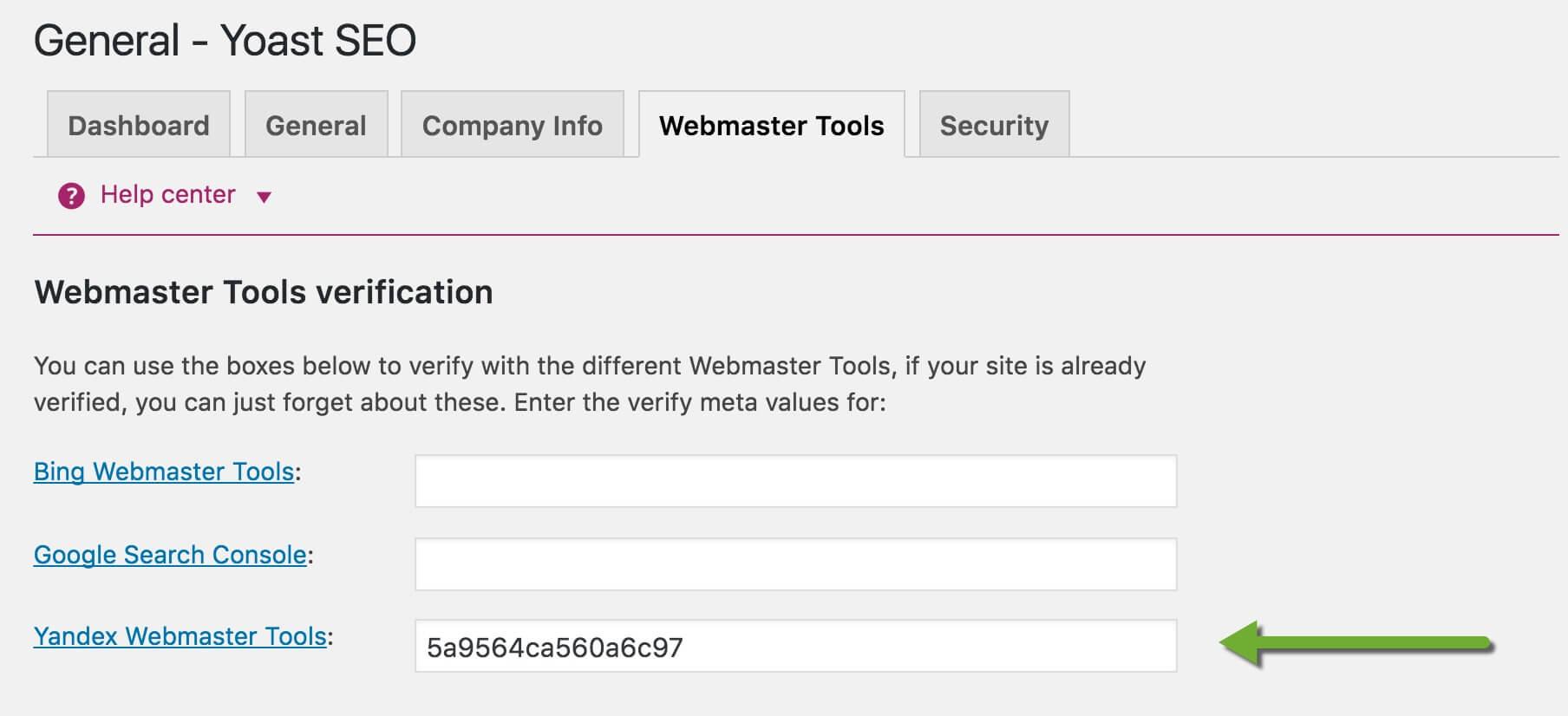 Yoast SEO Yandex Webmasters tool Option