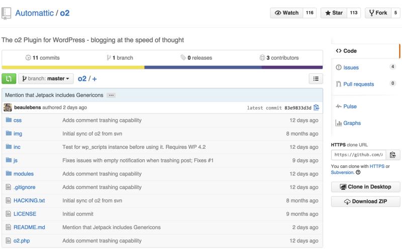 o2 Plugin WordPress on GitHub