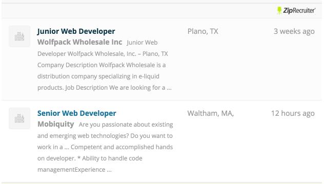 Listings from ZipRecruiter