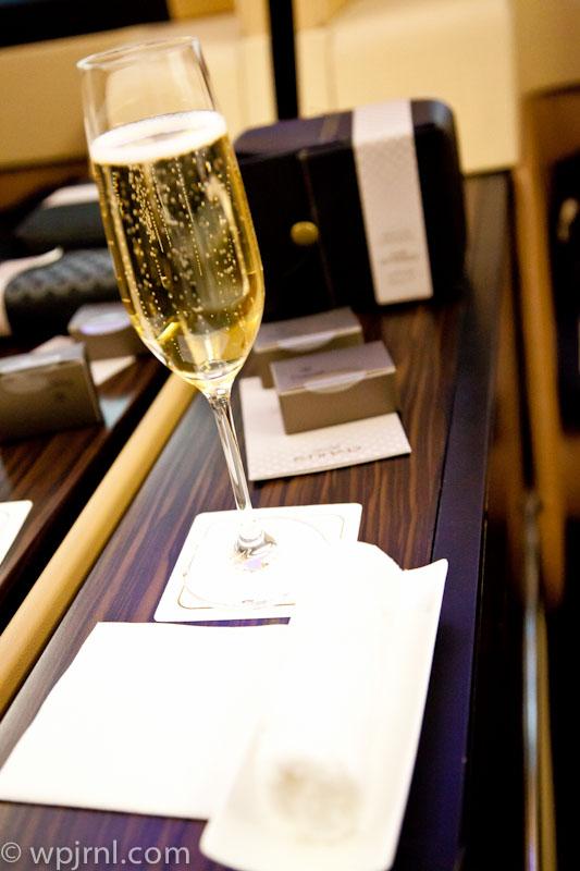Etihad Airways New York to Abu Dhabi First Class - Champagne and Amenity