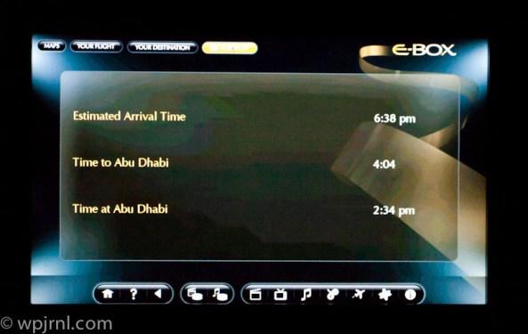Etihad Airways New York to Abu Dhabi First Class - Enterteinment