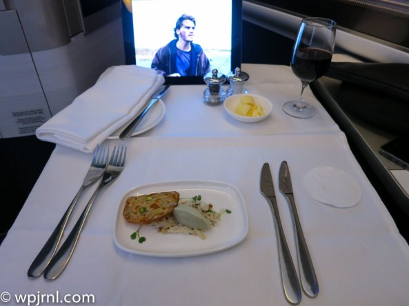 New British Airways First Class London to Miami - Entree