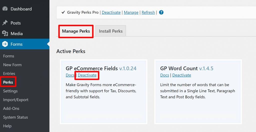 manage perks
