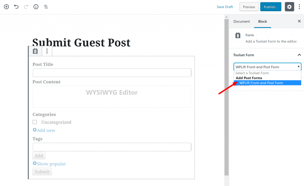 Insert front-end wordpress post submit form