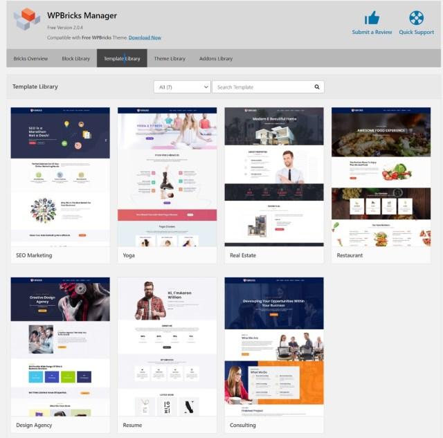 WPBricks page templates