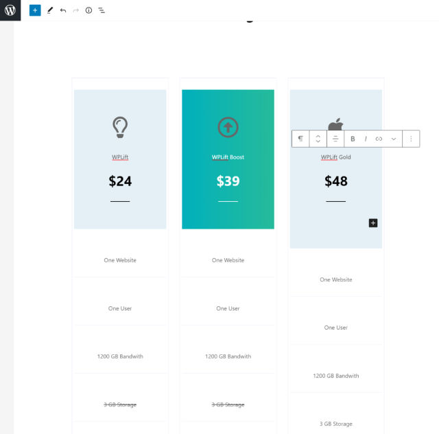 Editing pricing table