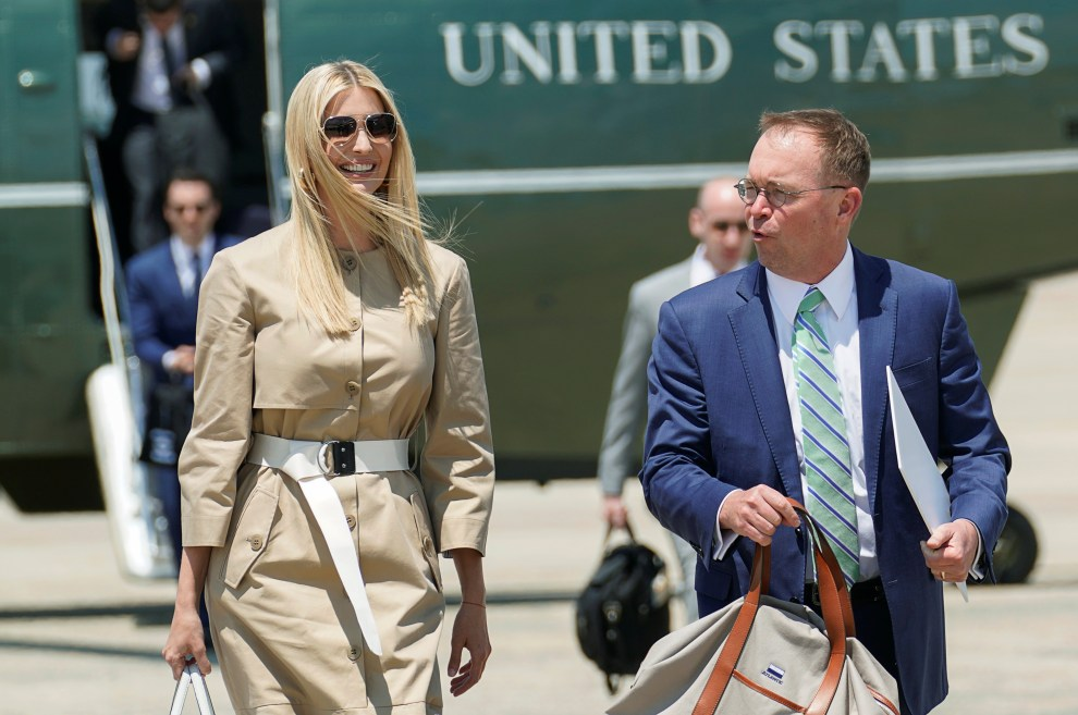 White House senior adviser Ivanka Trump and Acting White House Chief of Staff Mick Mulvaney walk from the Marine One helicopter as they depart Washington for travel to the G-20 summit in Osaka, Japan, from Joint Base Andrews, Maryland, June 26, 2019.