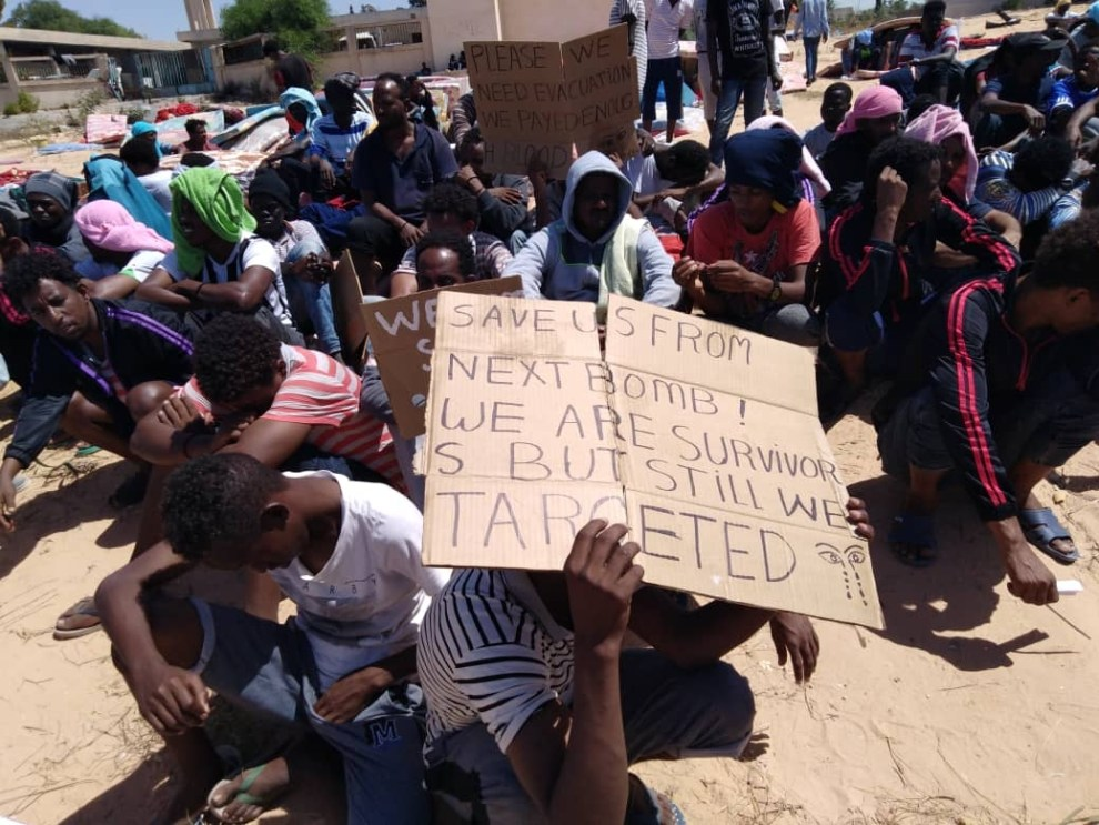 The migrants say they fled war, violence and abject poverty and risked their lives for the chance at a better life in Europe, before being captured and held in Tripoli. Photographed and transmitted to VOA July 7, 2019, in Tripoli, Libya.
