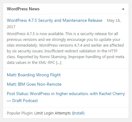 WordPress News dashboard widget