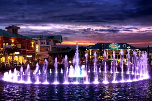 The Island Fountain at night