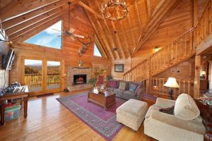 Living room with incredible views at Big Bear Lodge, a Gatlinburg rental cabin