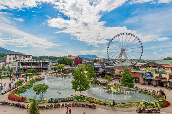 A drone photo of The Island in Pigeon Forge