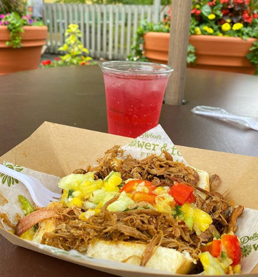 A pork sandwich at Dollywood's Flower and Food Festival