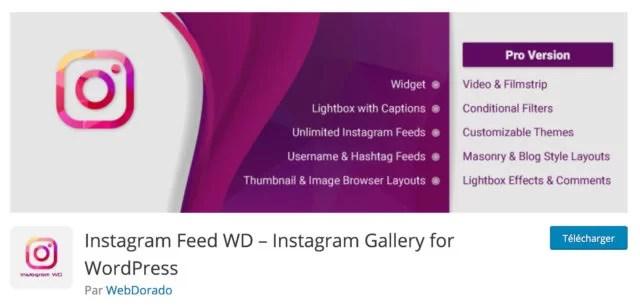 Screenshot du plugin WordPress Instagram Feed WD sur le repository