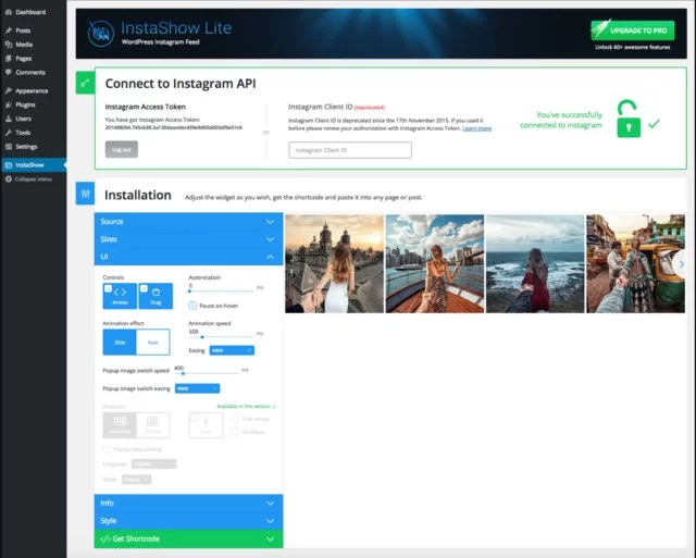 Screenshot de l'interface du plugin WordPress InstaShow Lite