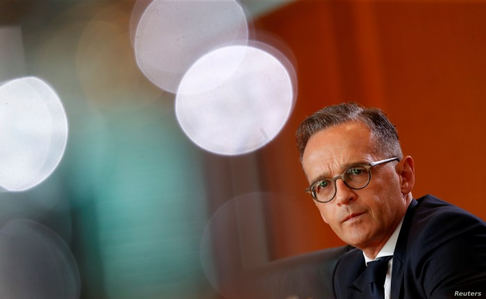 FILE - German Foreign Minister Heiko Maas attends the weekly cabinet meeting in Berlin, Germany, July 31, 2019.