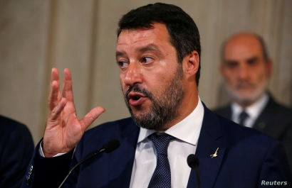 League leader Matteo Salvini gestures as he speaks to the media after consultations with Italian President Sergio Mattarella in Rome, Italy, Aug. 28, 2019.