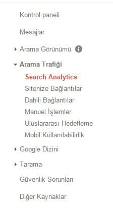 Google webmaster arama trafiği - search analysis
