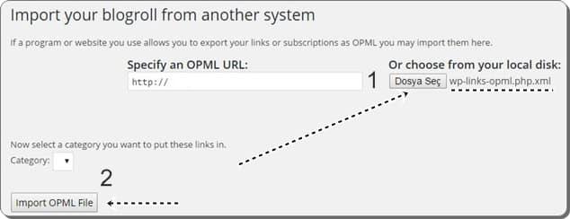 OPML Dosyası içe aktarma - wordpress.org'a geçiş