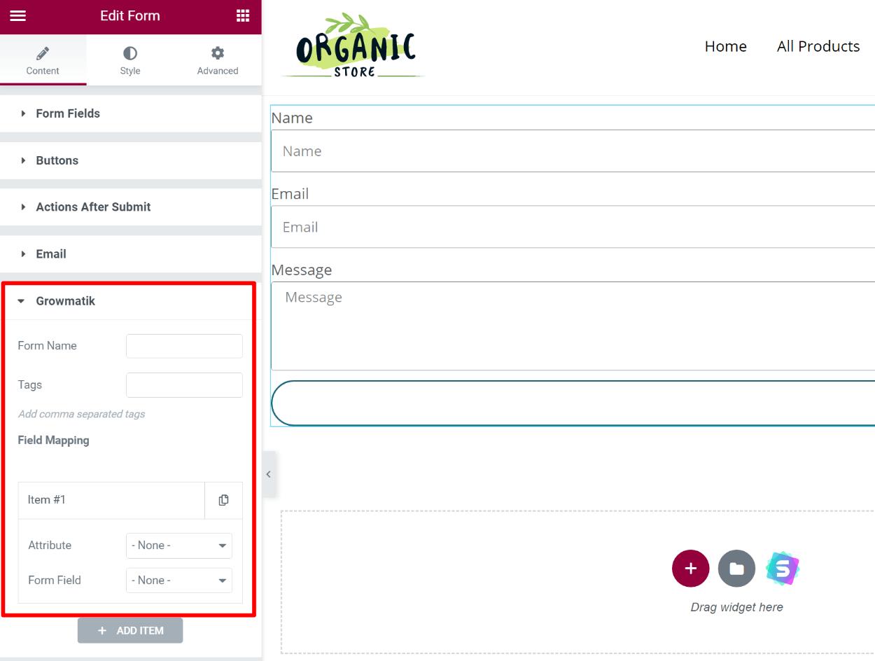 Growmatik in Elementor Pro